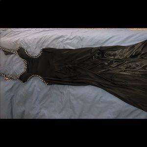 Dresses & Skirts - Diamante black maxi cutout dress with slit, size 6